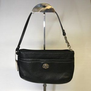 Coach Black Pebbled Leather Wristlet